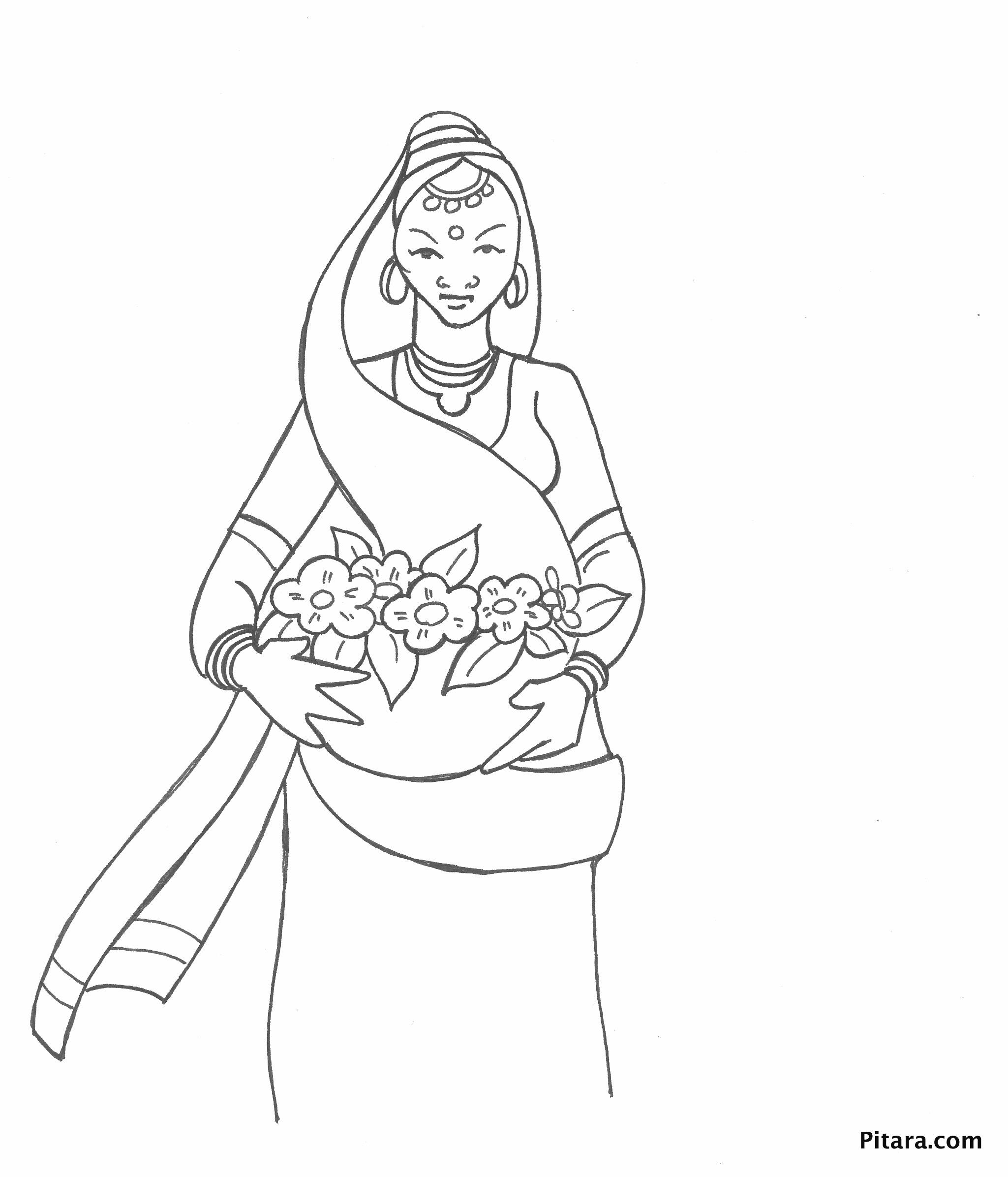 Woman selling flowers