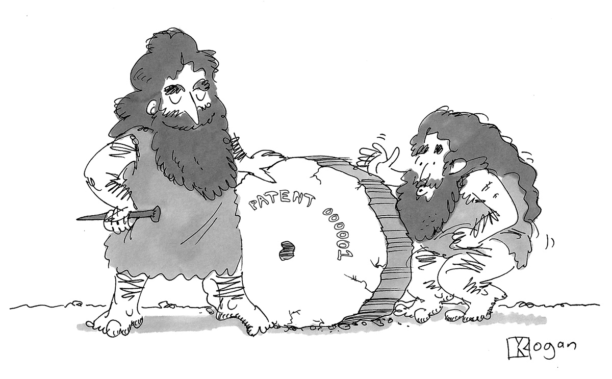 (Caveman shows off his invention of the wheel, with the first patent number.)