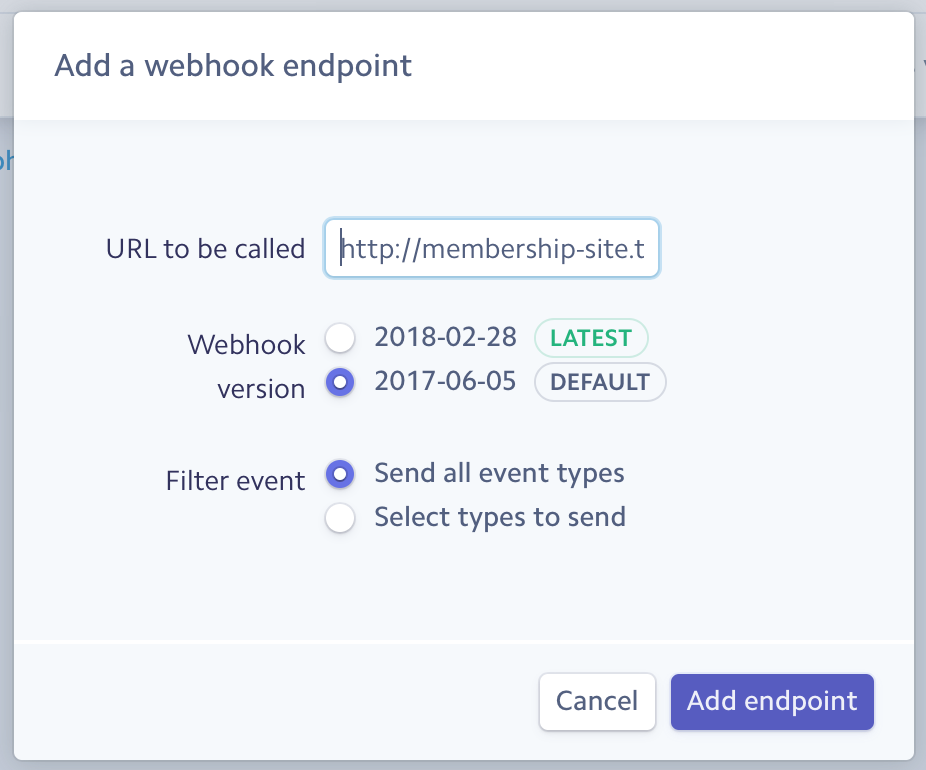 Add a webhook in Stripe dashboard