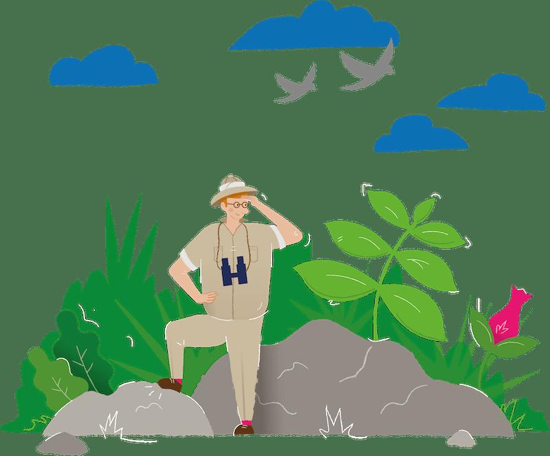 Man exploring the jungle