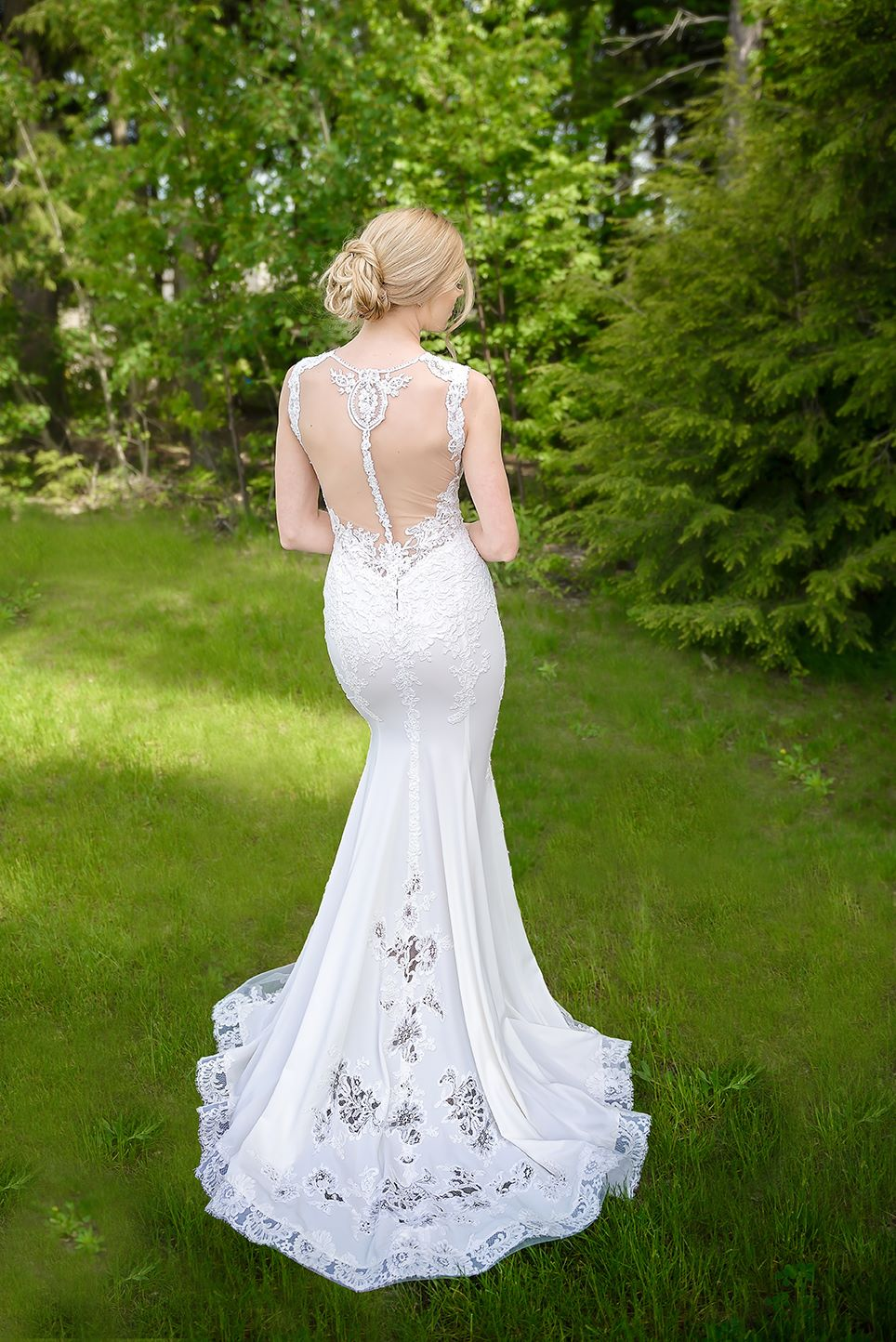 wedding dress evening gown montreal custom made open back lace