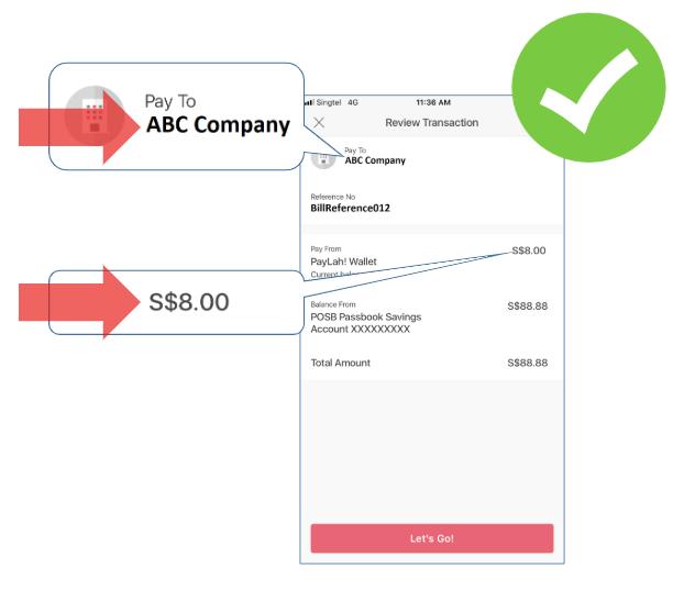 Verify payment details