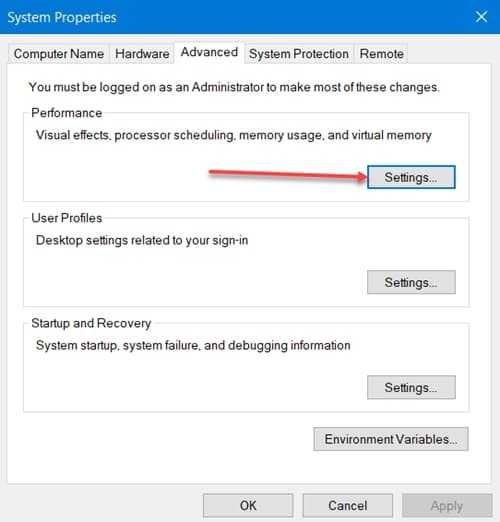 Change Windows 10 Advanced Performance Settings
