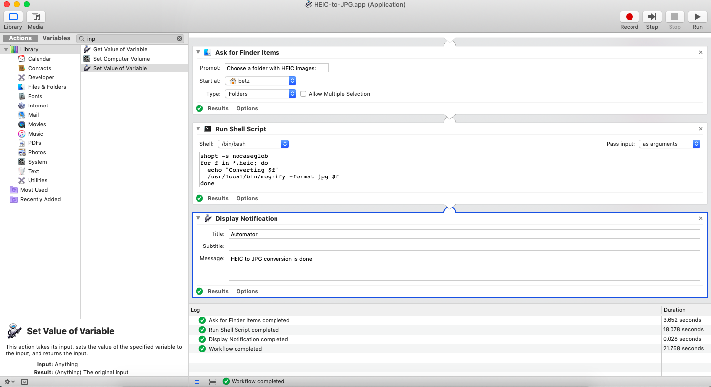 Screenshot of Mac Automator application