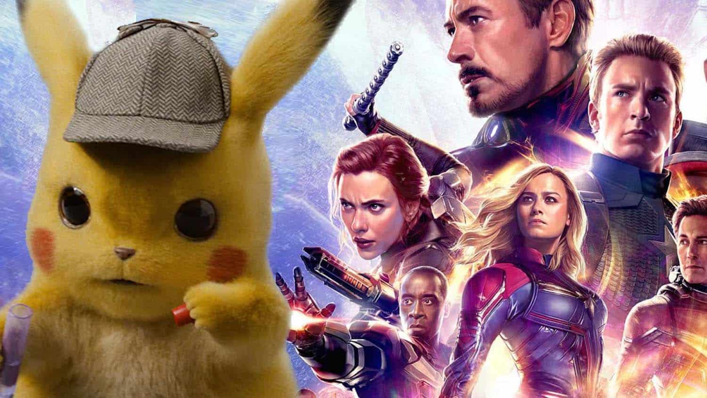 Vingadores: Ultimato (Avengers: Endgame) e Detetive Pikachu numa imagem que evoca a batalha entre ambos pela bilheteria do final de semana
