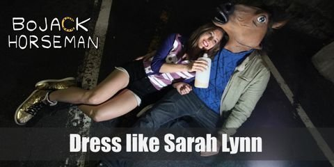 Sarah Lynn looks like she's always partying hard with her yellow, wedge-sneaker heels, her black cut-off shorts and the casual blue and purple shirt covered with skulls and stripes she wears to every night out.