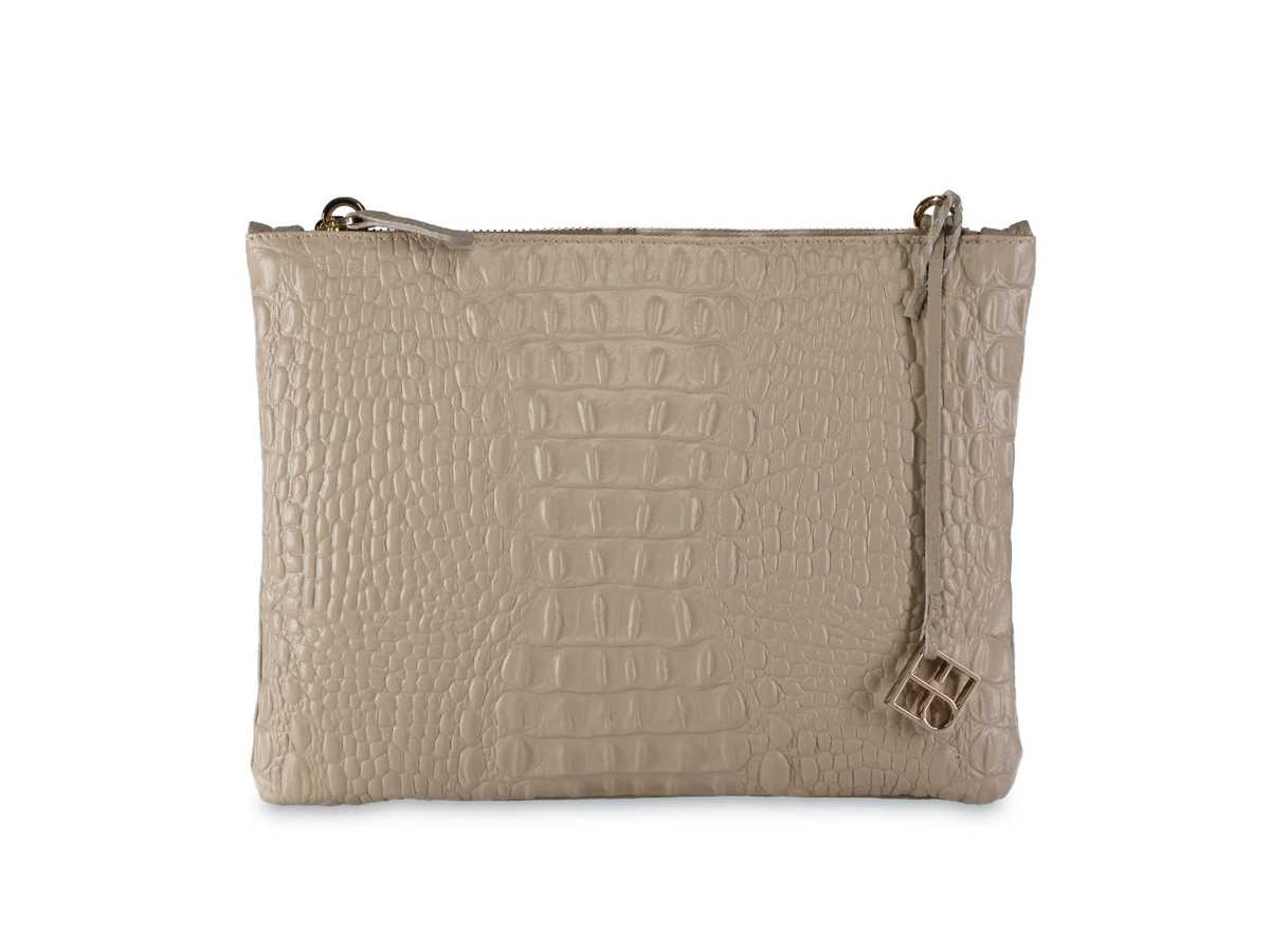 Peacock Pouch Single – croc taupe