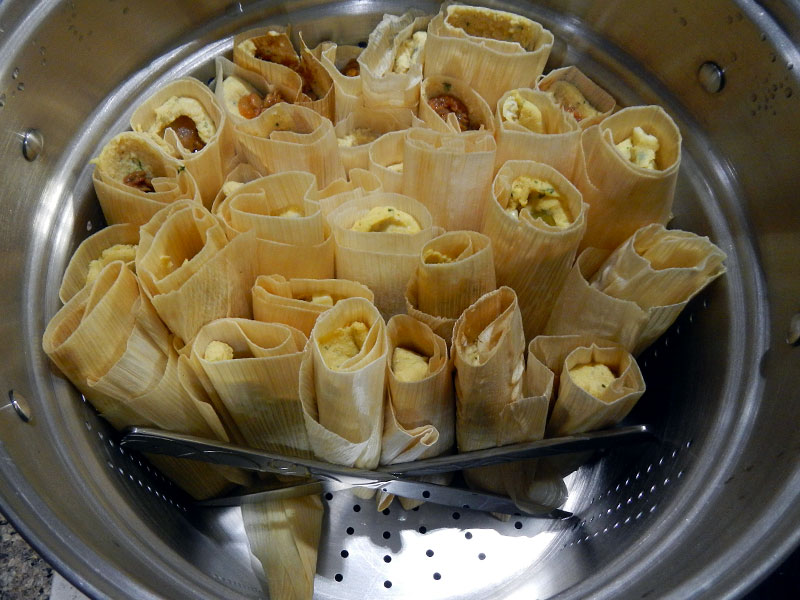 Keeping Tamales in Place in Steamer