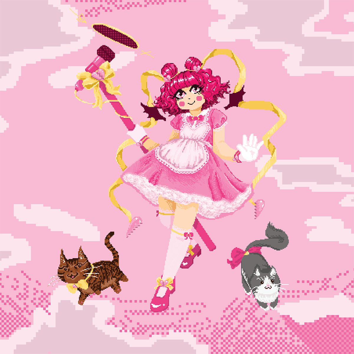 illustration of magical girl with a pink broken hearts theme. She has red curly hair, a pink doll dress, yellow ribbon accents with broken heart charms, and is holding a huge microphone. Two chibi cats are by her feet, a brown one to the left, and a grey and white one to the right. The background is a sky with clouds.