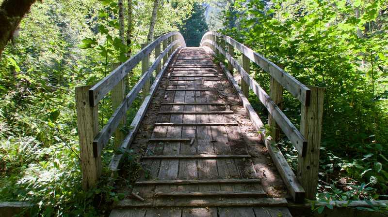 A wooden bridge over Wind River