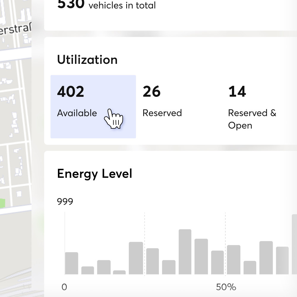 Zoomed screenshot showing dashboard of the Wunder app.