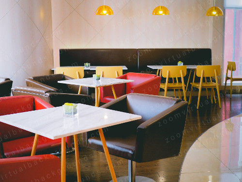 Cafe Virtual Background for Zoom with colorful chairs and marble tables
