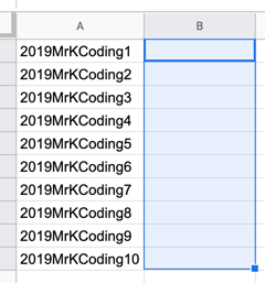 Screenshot of two columns of a spreadsheet. The first column contains usernames. The second is empty. The empty column is highlighted.