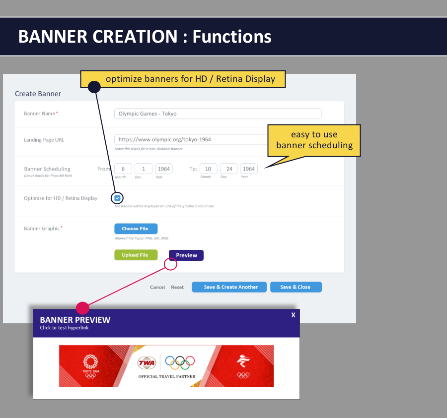 email signature dashboard - banner creation