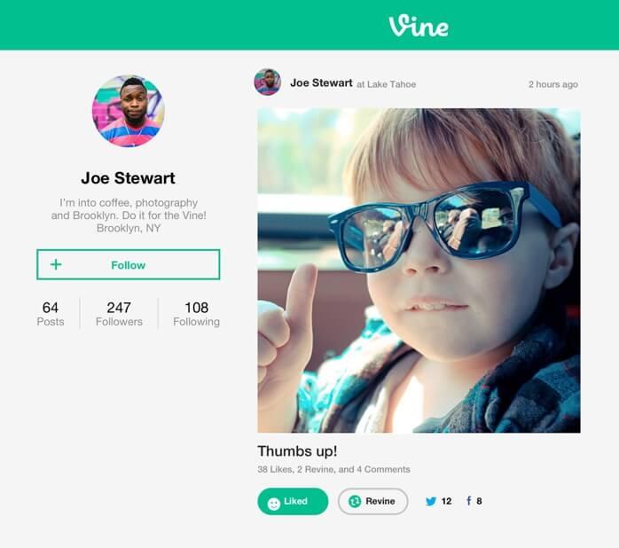 Vine.co profile page