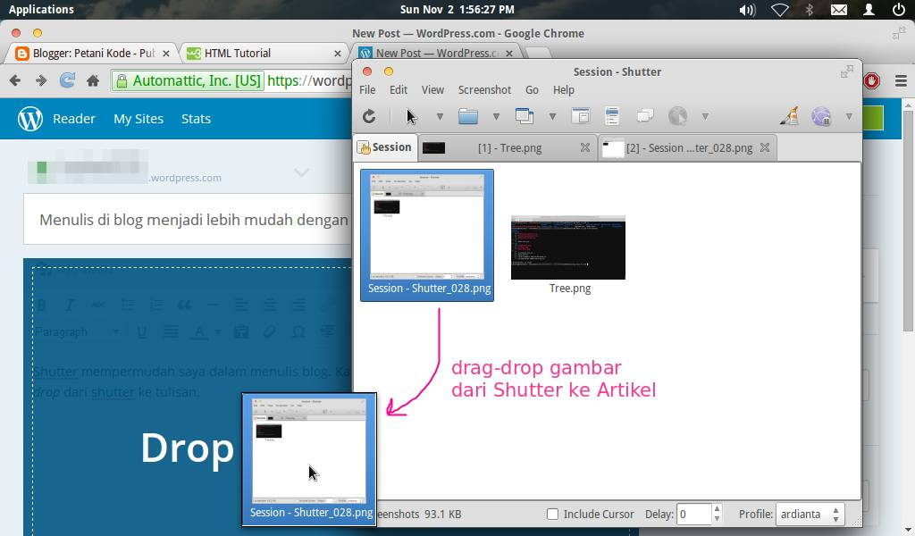 Drag and drop gambar ke artikel