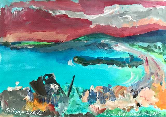 Oceania Feeling Bull Pup Beach, acrylic on paper