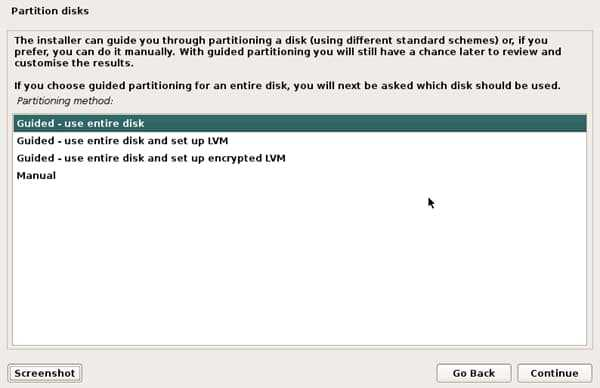 partition disks install kali linux