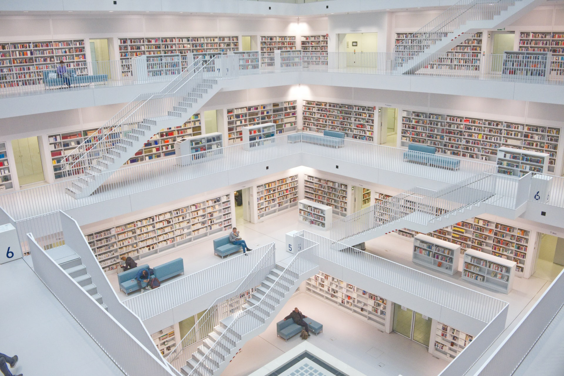 A wide photo of a modern looking library