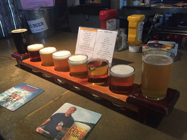 A flight of beers at Moat Mtn Brewery in North Conway, NH