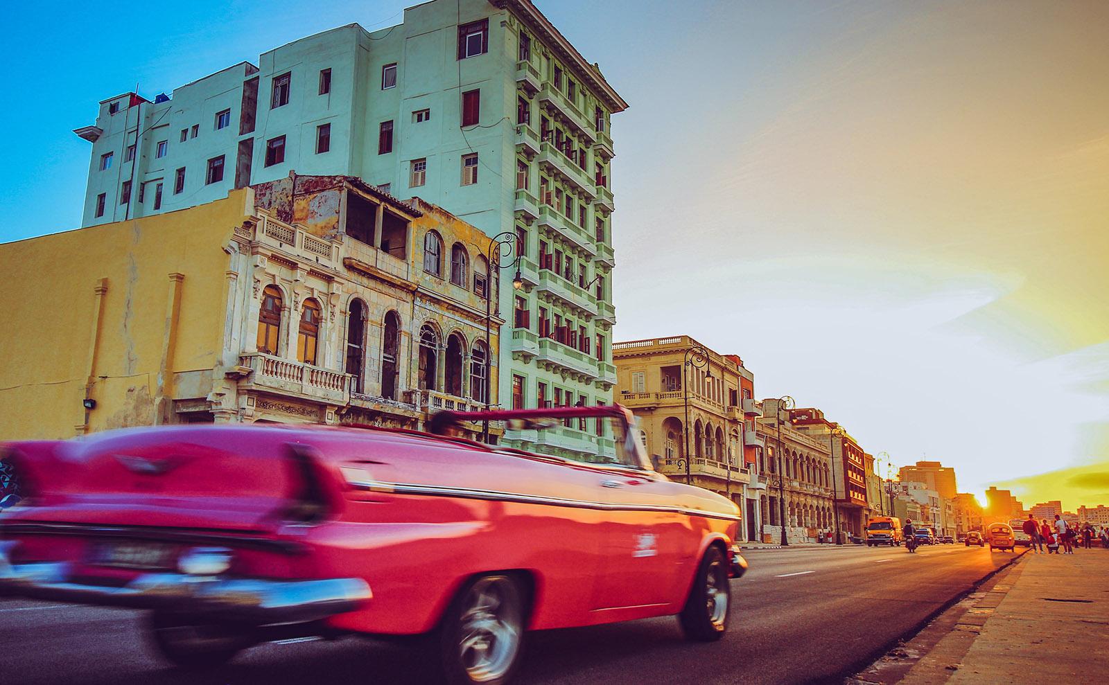 street view of havana with vintage car