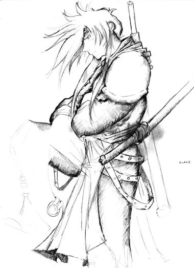 Samurai in Robes Sketch