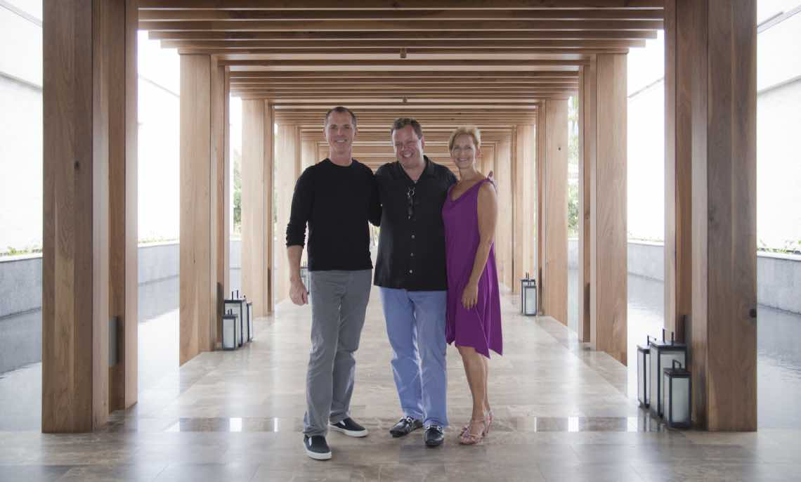 Maui artist Shane Robinson, Andaz General Manager Michael Stephens, artist and consultant Roxanne Darling