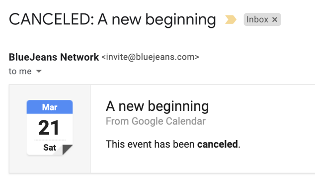 Receive email after meeting canceled