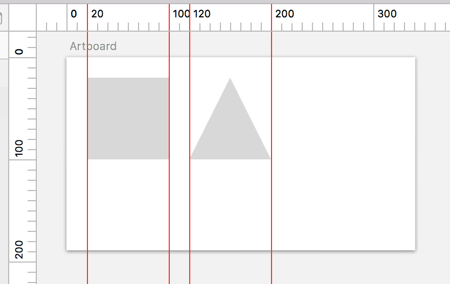 Screenshot of gridlines in use in Sketch.