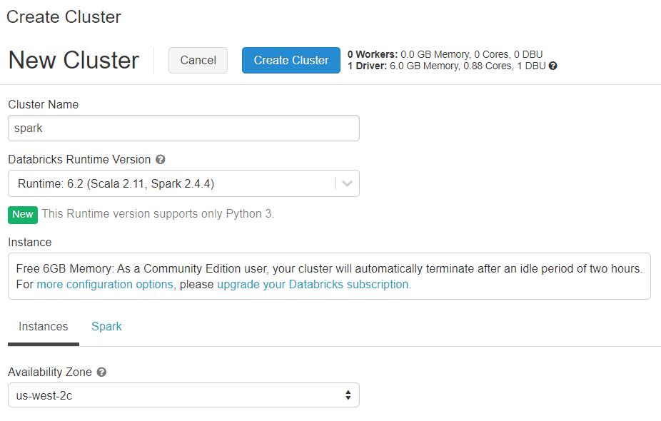 databricks_cluster_creation_community_edition