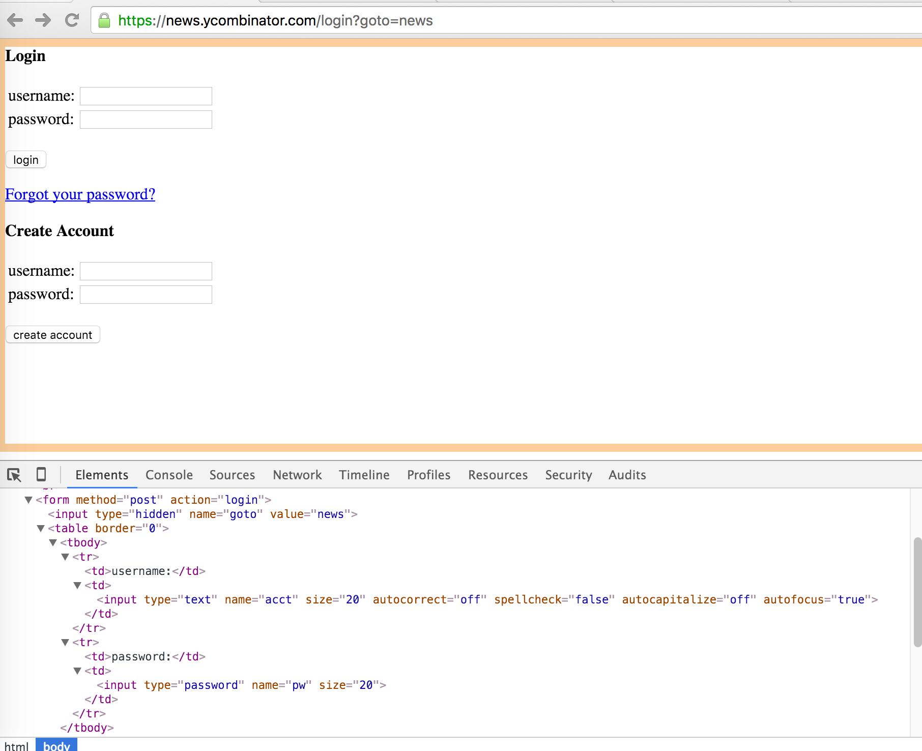 Screenshot of Hacker News login form
