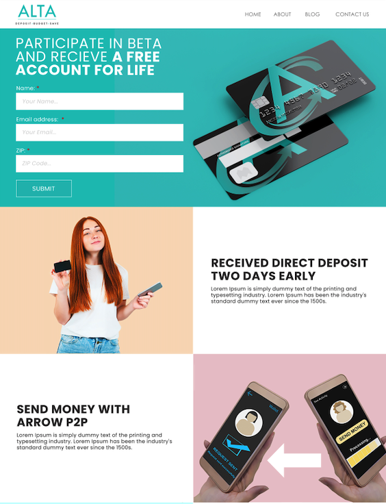 ALTA landing page designed by kickofflabs