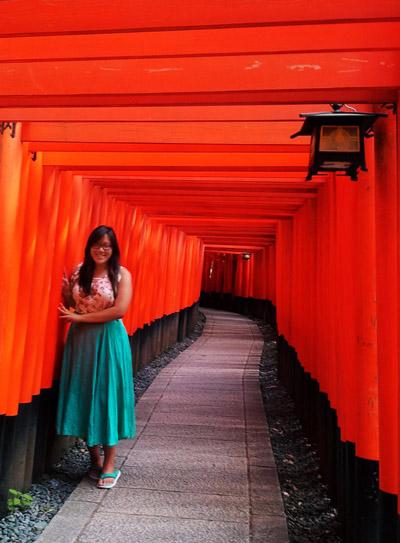 Melissa Chow, at the Fushimi Inari Shrine in Kyoto, Japan