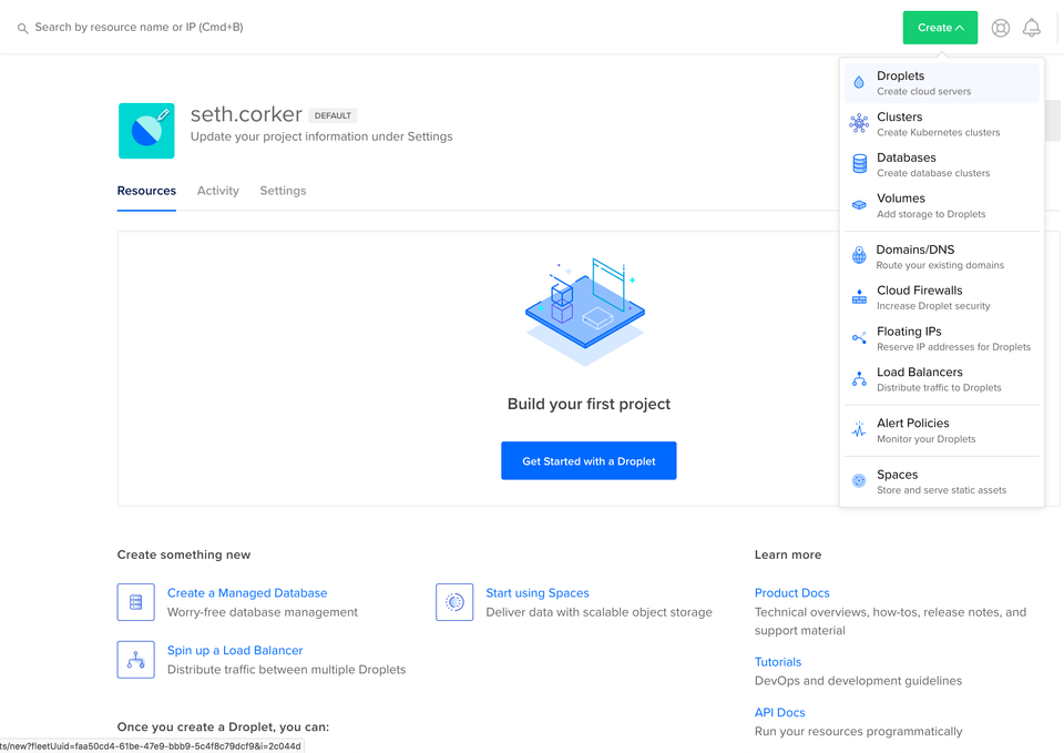 an empty dashboard on DigitalOcean with a Get Started with a Droplet button