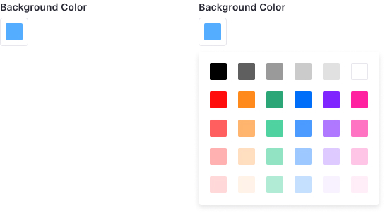 Color picker at its simple version where only a predefined color palette is shown