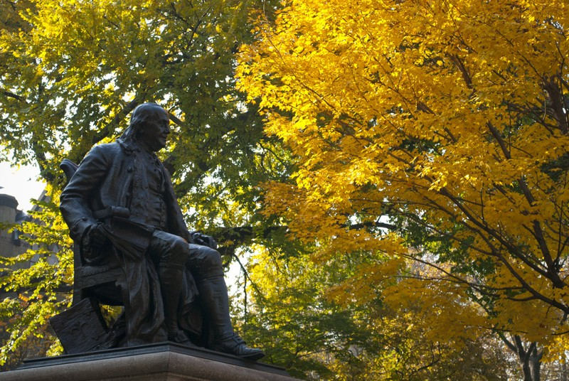 Statue of Benjamin Franklin on the University of Pennsylvania campus