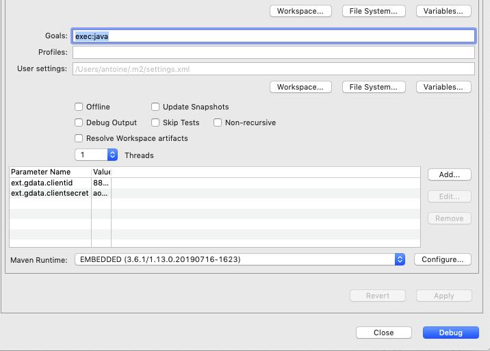 Screenshot of Eclipse debug configuration