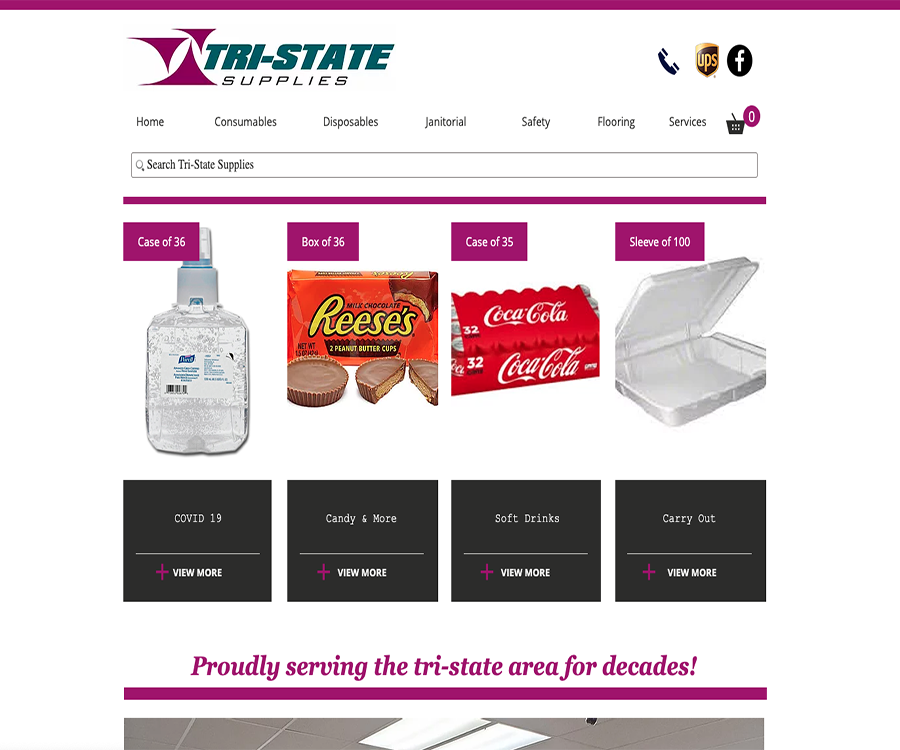 A screenshot of Tri State Supplies official website, your premiere retail, business, and flooring supplies store.  Proudly developed by LC3 Creative.