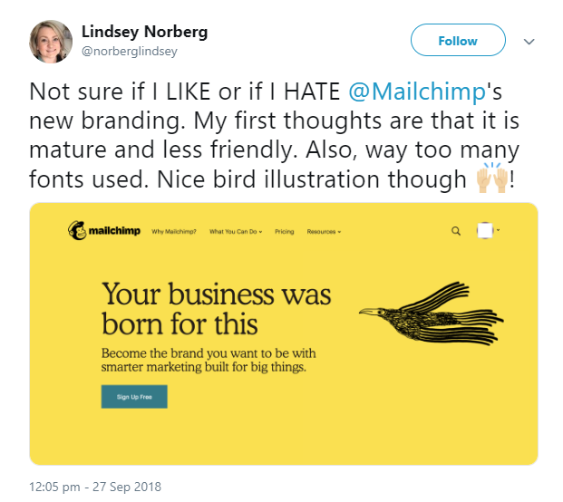 Tweet about MailChimp's new branding