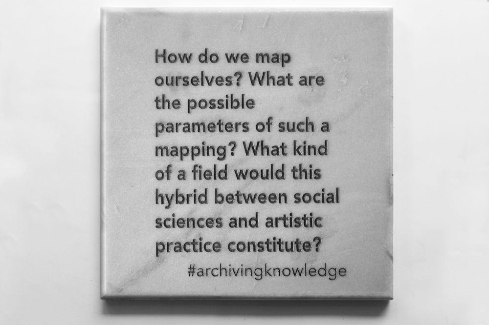 How do we map ourselves? What are the possible parameters of such a mapping? what kind of a field would this hybrid between social sciences and artistic practice constitute?, From the series: Archiving Knowledge, hand engraved marble, 2018
