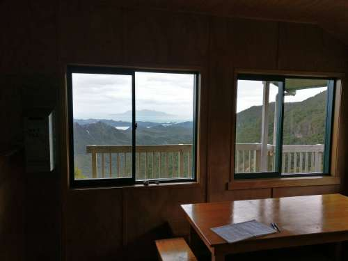 View from inside Mt Heale Hut
