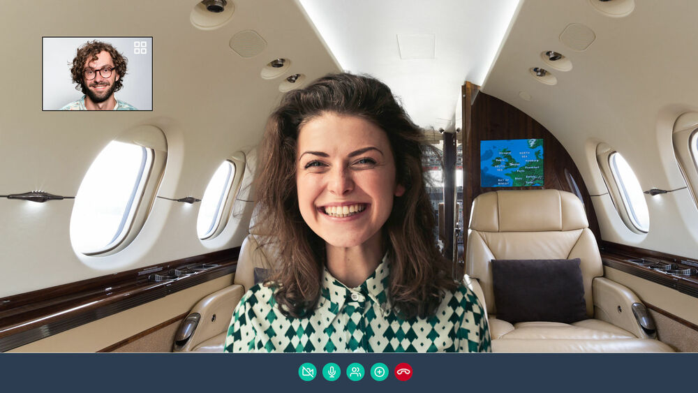 Private jet fun background for Skype