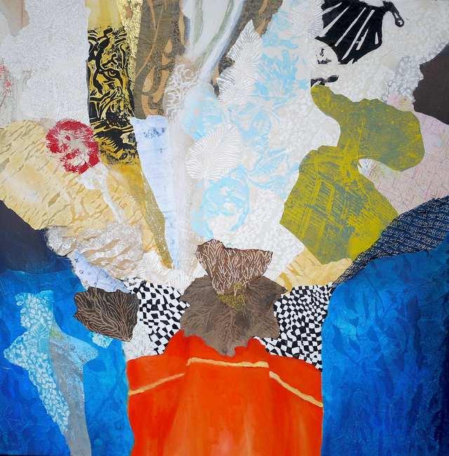 Post Beringin Tree, mixed media collage on canvas
