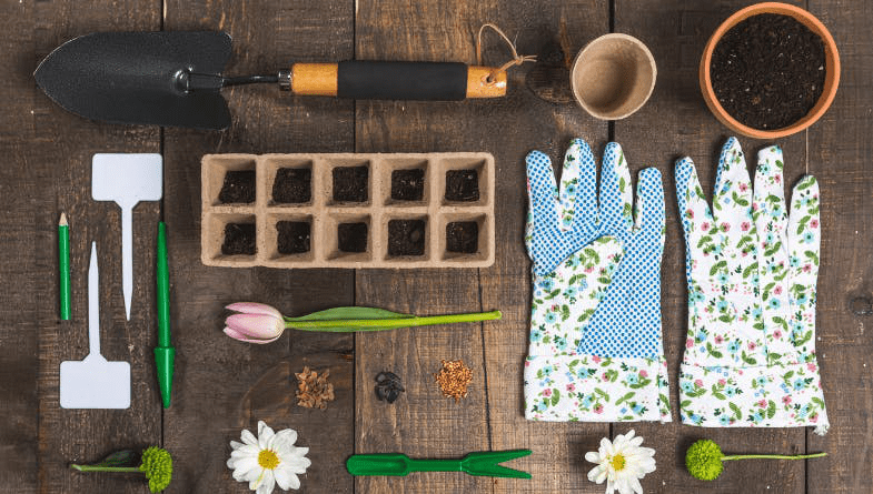 Gardening tools, gloves, flowers, plant pots, tools #gardening