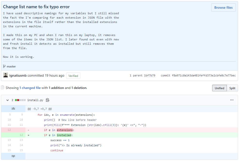 GitHub commit expanded