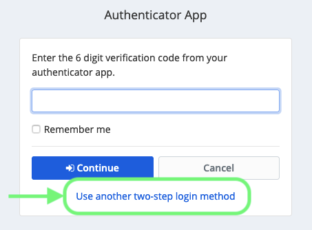 Use another two-step login method