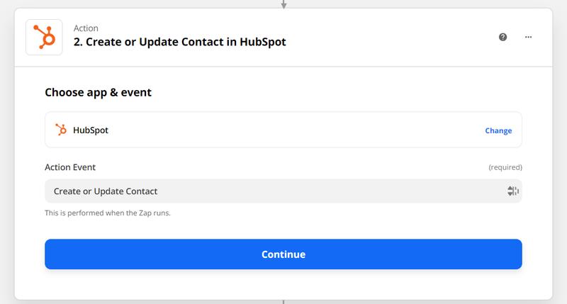 "Select ""create contact"" in Zapier"
