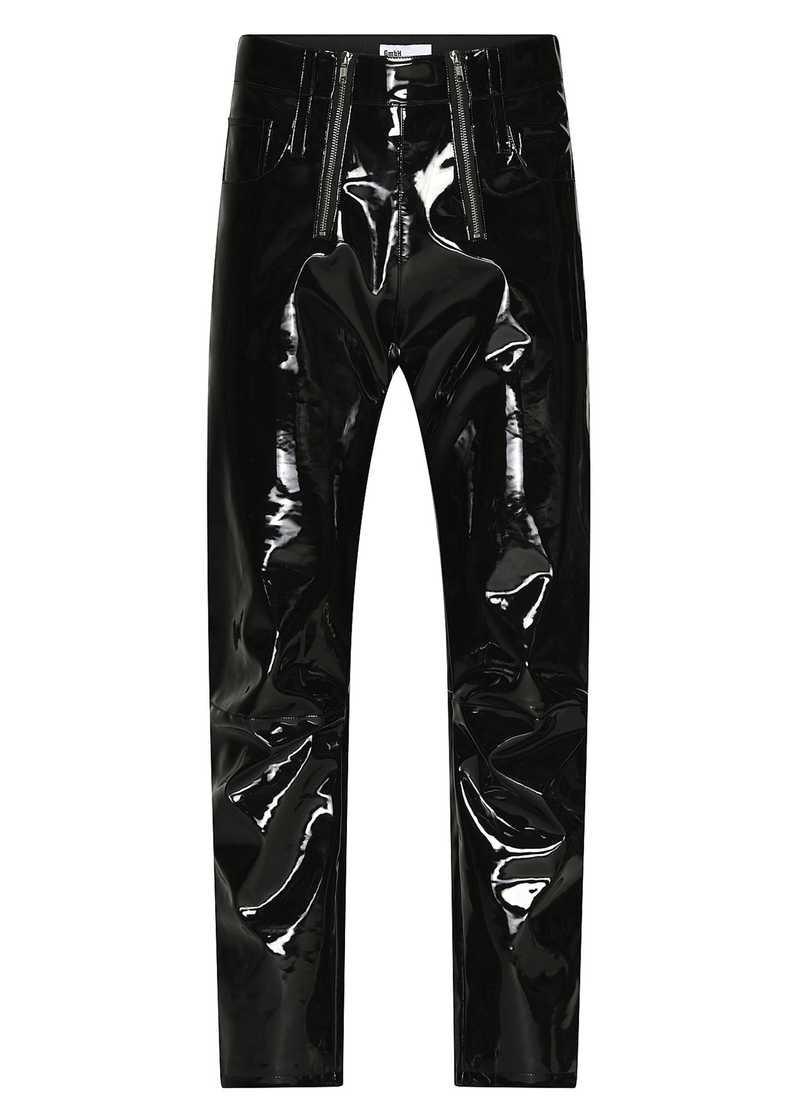 THOR vinyl trouser in black. GmbH Spring/Summer 2021 'RITUALS OF RESISTANCE'
