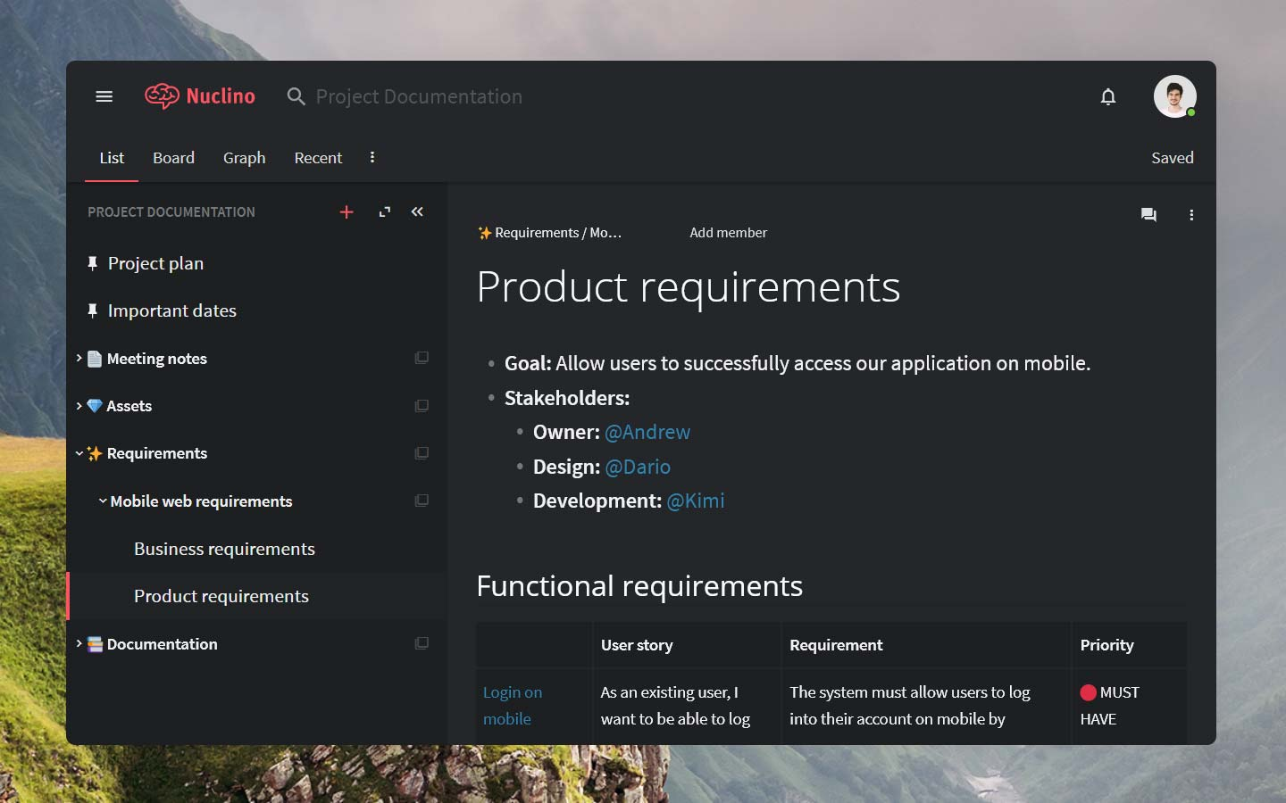 Functional requirements document in Nuclino