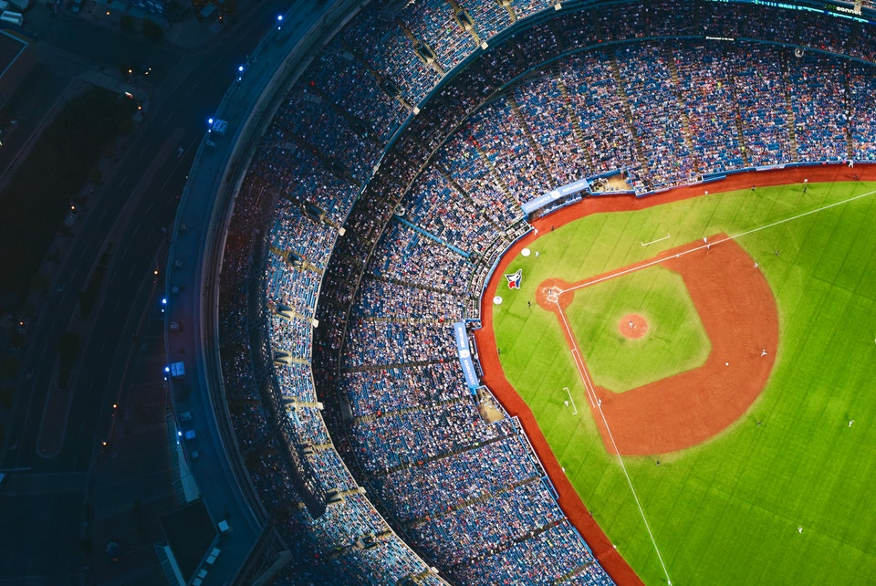Aerial view of a baseball stadium